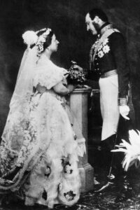 Queen Victoria and Prince Albert pose for photo of their marriage in 1854